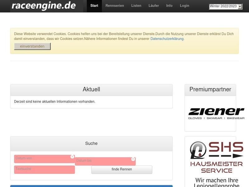 Screenshot von http://www.raceengine.de/infocenter/start/index.aspx